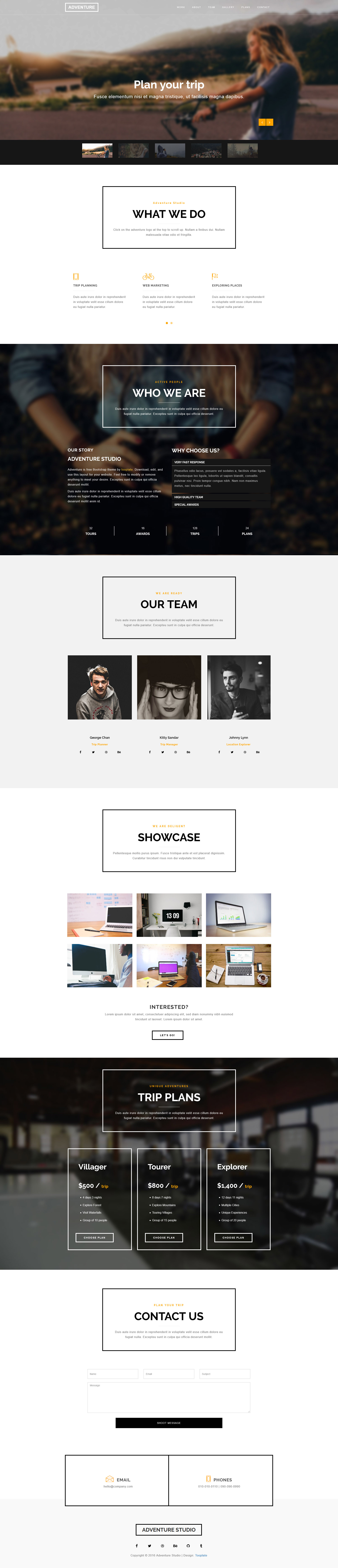 Adventure Bootstrap Theme - Free HTML CSS Templates